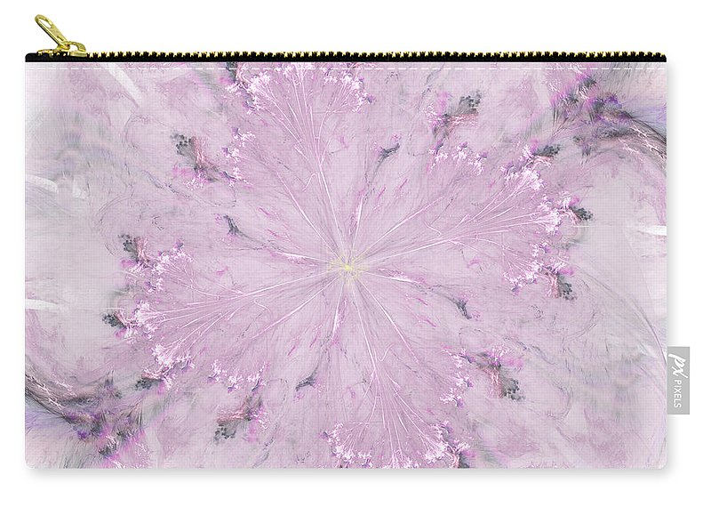 Fractal Carry-all Pouch featuring the digital art Pink Hibiscus by Victoria Harrington