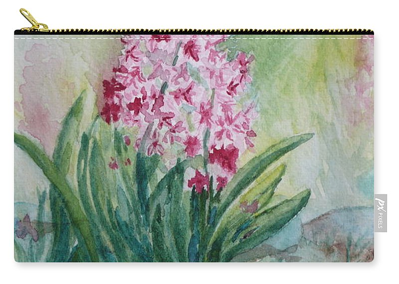 Hyacint Carry-all Pouch featuring the painting Pink Hyacint by Anna Ruzsan