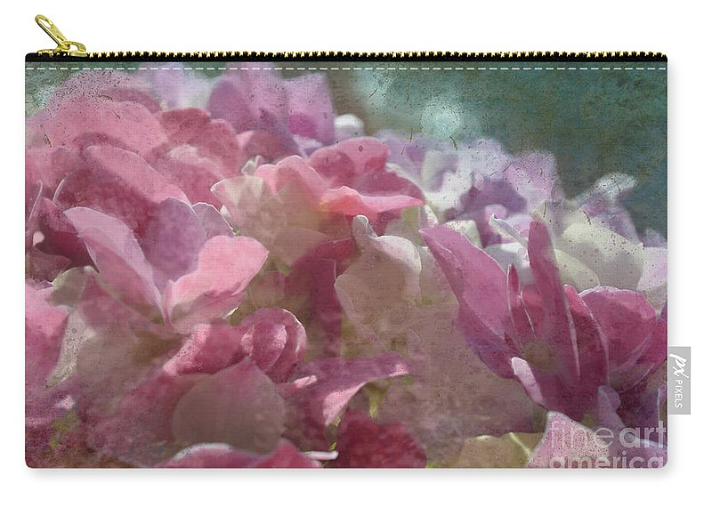Nature Carry-all Pouch featuring the photograph Pink Hydrangea Photoart I by Debbie Portwood