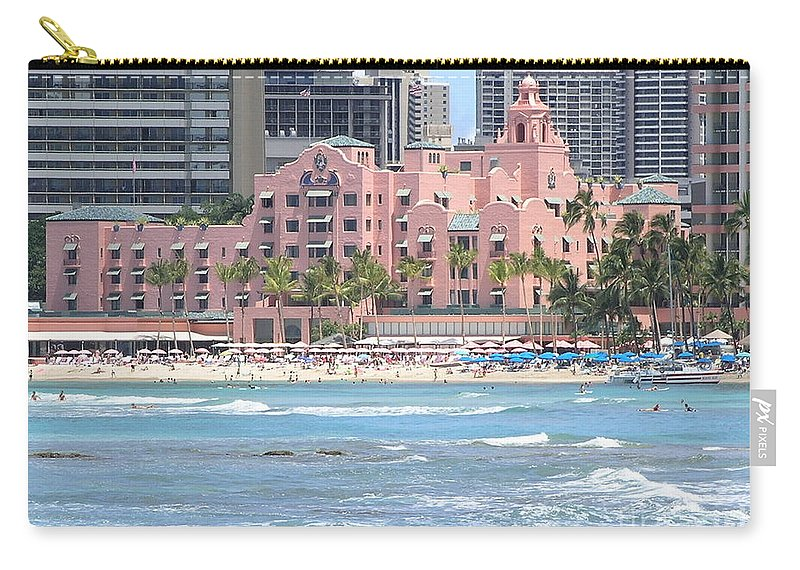 Beach Carry-all Pouch featuring the photograph Pink Palace On Waikiki Beach by Mary Deal