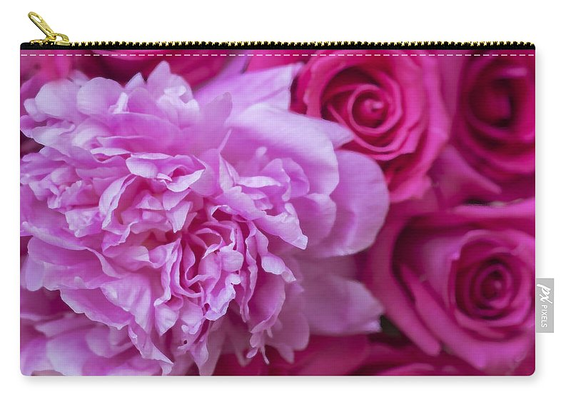 Pink Roses Carry-all Pouch featuring the photograph Pink Peonies And Pink Roses by Rich Franco