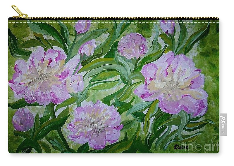Pink Carry-all Pouch featuring the painting Pink Peonies by Eloise Schneider Mote