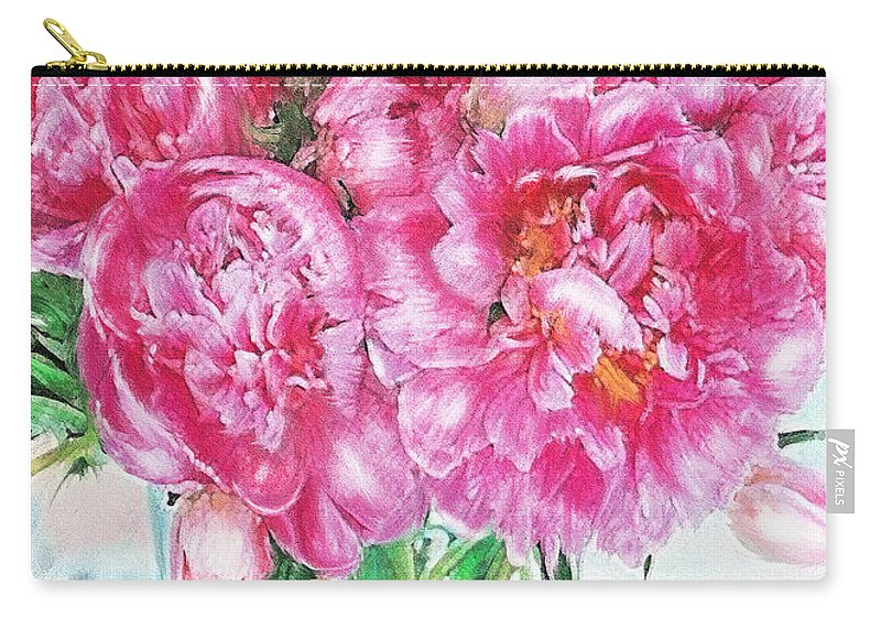 Peony Carry-all Pouch featuring the digital art Pink Peonies by Jane Schnetlage