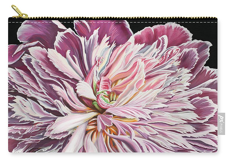 Flower Carry-all Pouch featuring the painting Pink Peony by Jane Girardot