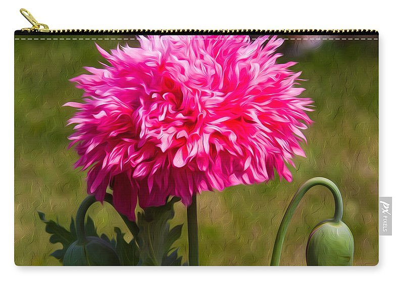Poppy Carry-all Pouch featuring the painting Pink Poppy by Omaste Witkowski