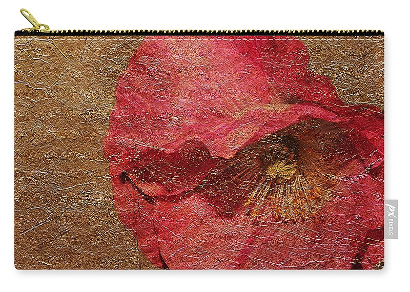 Flower Carry-all Pouch featuring the photograph Pink Poppy Gold Leaf by Phyllis Denton
