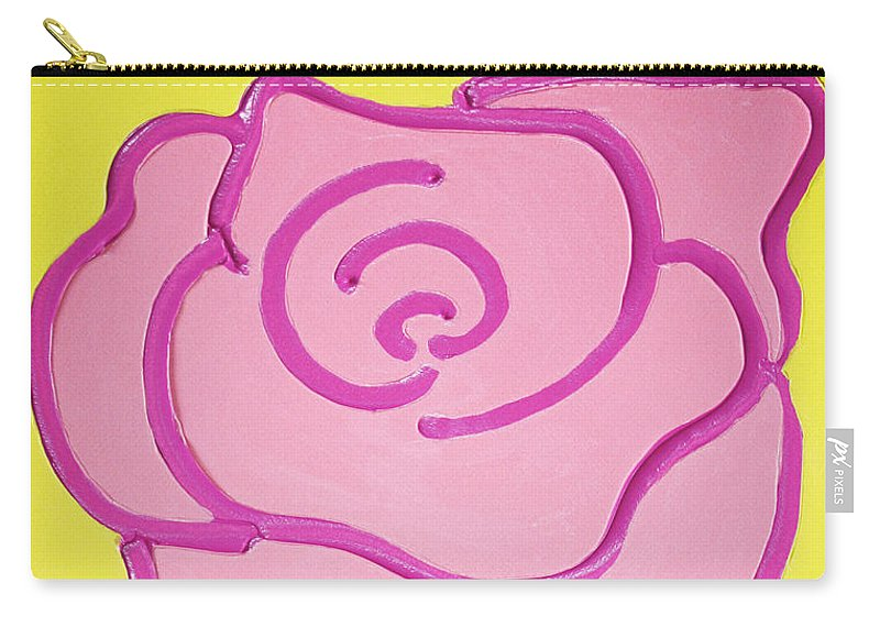 Rose Carry-all Pouch featuring the painting Pink Rose by Matthew Brzostoski
