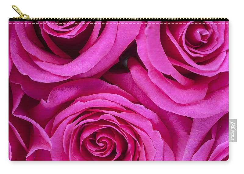 Pink Roses Carry-all Pouch featuring the photograph Pink Roses 2 by Rich Franco