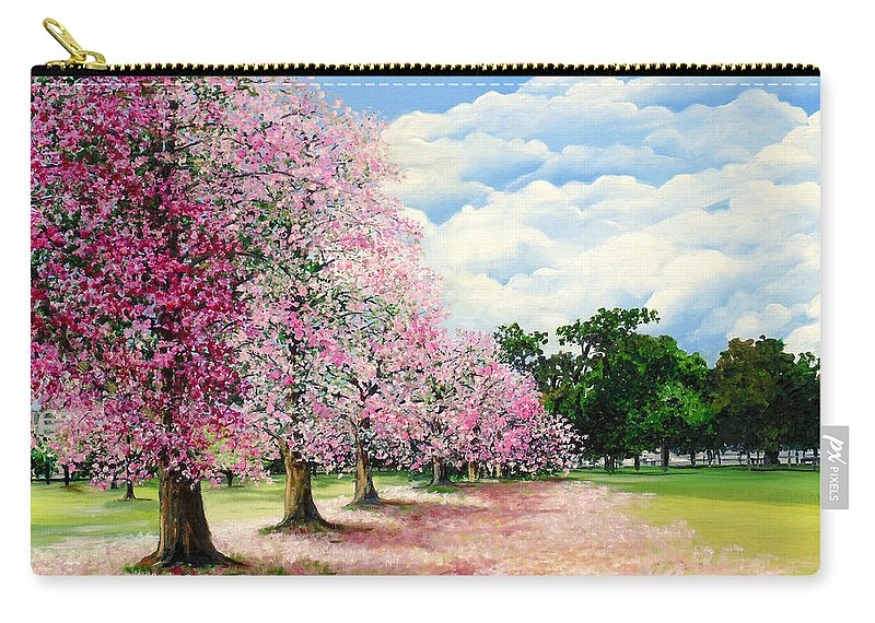 Pink Poui Trees Carry-all Pouch featuring the painting Pink Savannah Poui by Karin Dawn Kelshall- Best