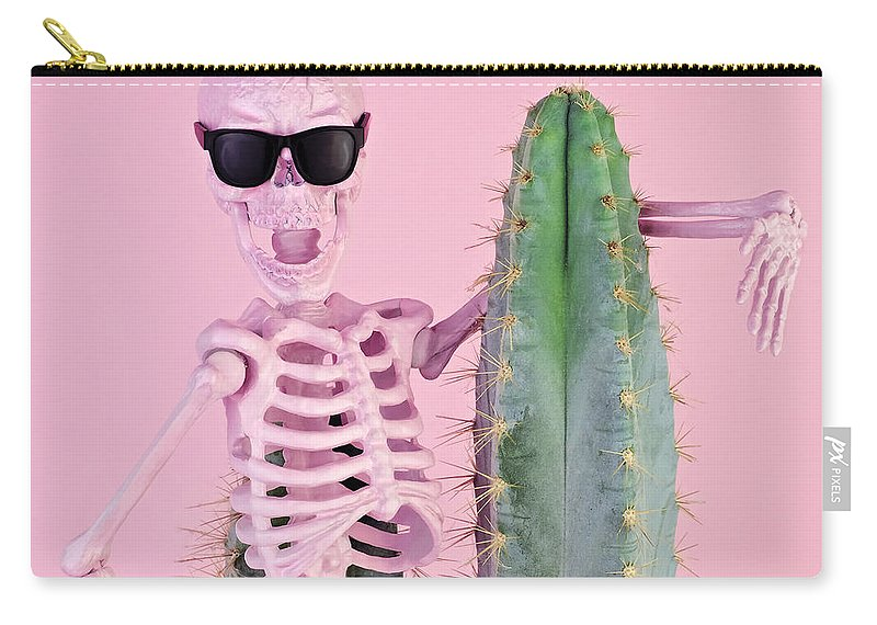 Cool Attitude Carry-all Pouch featuring the photograph Pink Skeleton With Cactus by Juj Winn