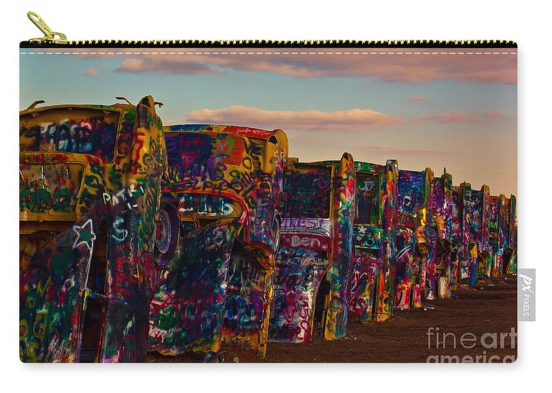 Landmark Carry-all Pouch featuring the photograph Pink Sky At Cadillac Ranch by Robert Frederick