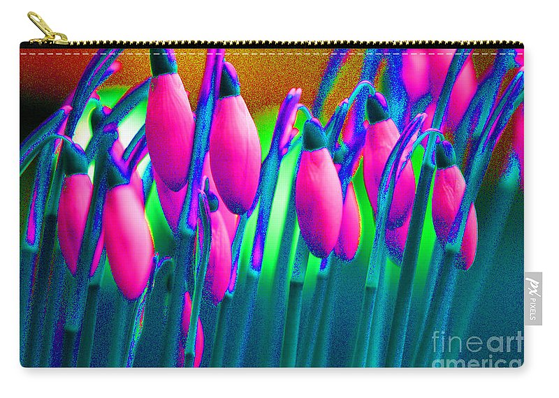 Pink Carry-all Pouch featuring the digital art Pink Snowdrops by Carol Lynch