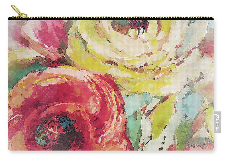 Pink Carry-all Pouch featuring the painting Pink Spring Is Nigh by Lanie Loreth