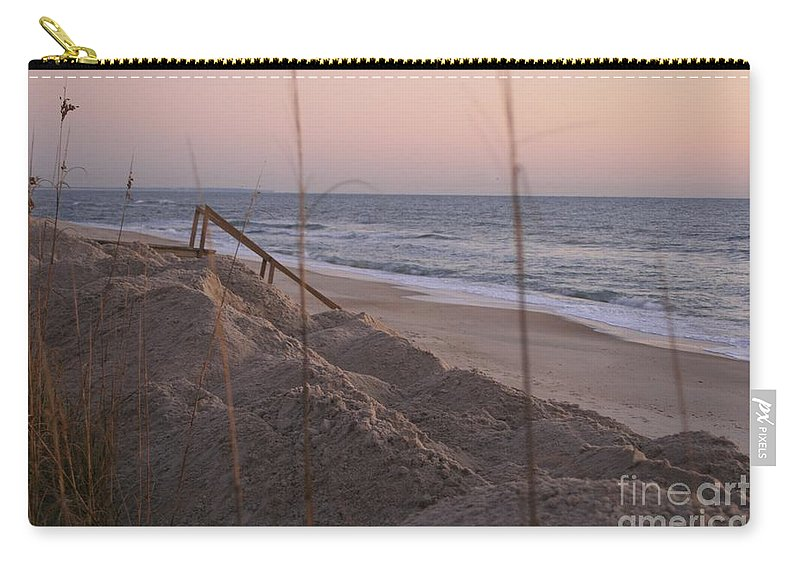 Pink Carry-all Pouch featuring the photograph Pink Sunrise On The Beach by Nadine Rippelmeyer