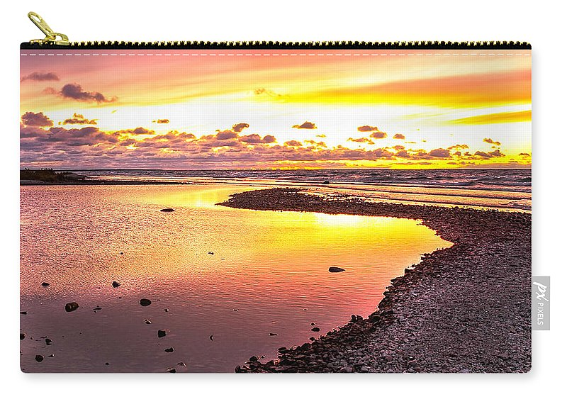 Sunset Carry-all Pouch featuring the photograph Pink Sunset At Mackinac Michigan by LeeAnn McLaneGoetz McLaneGoetzStudioLLCcom
