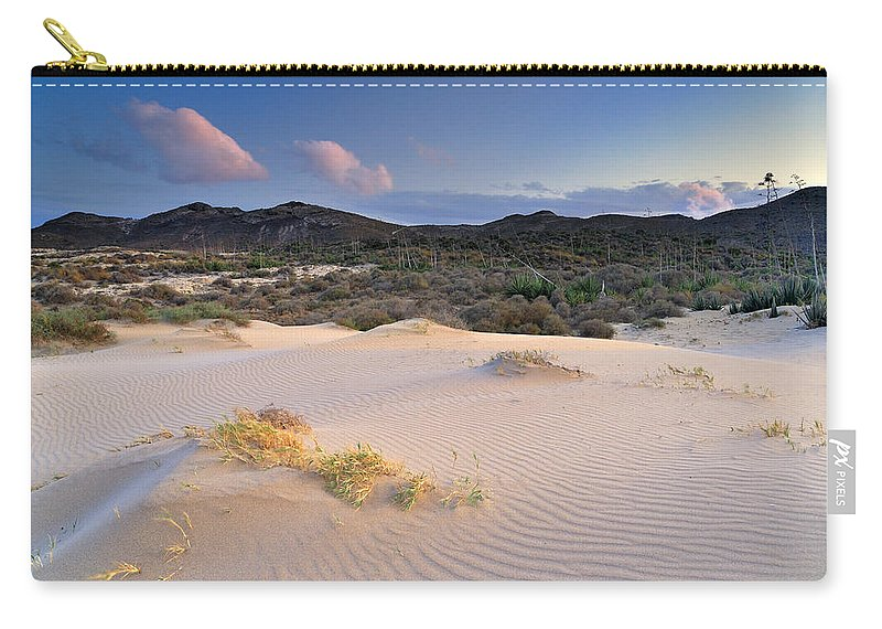 Sunset Carry-all Pouch featuring the photograph Pink Sunset At The Desert by Guido Montanes Castillo