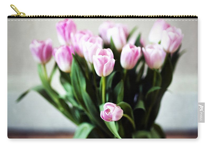 Tulip Carry-all Pouch featuring the photograph Pink Tulips In A Vase by Lee Avison