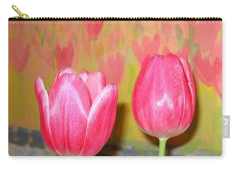 Pink Tulips Carry-all Pouch featuring the photograph Pink Tulips by Will Borden