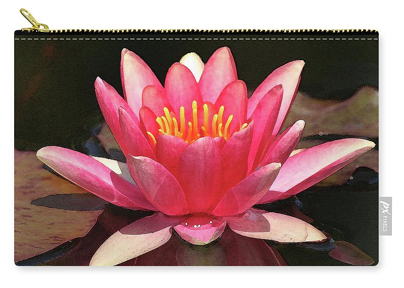 Lily Carry-all Pouch featuring the photograph Pink Waterlily by Art Block Collections