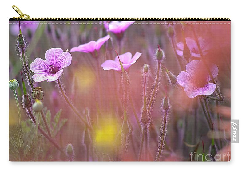 Horizontal_format Carry-all Pouch featuring the photograph Pink Wild Geranium by Heiko Koehrer-Wagner
