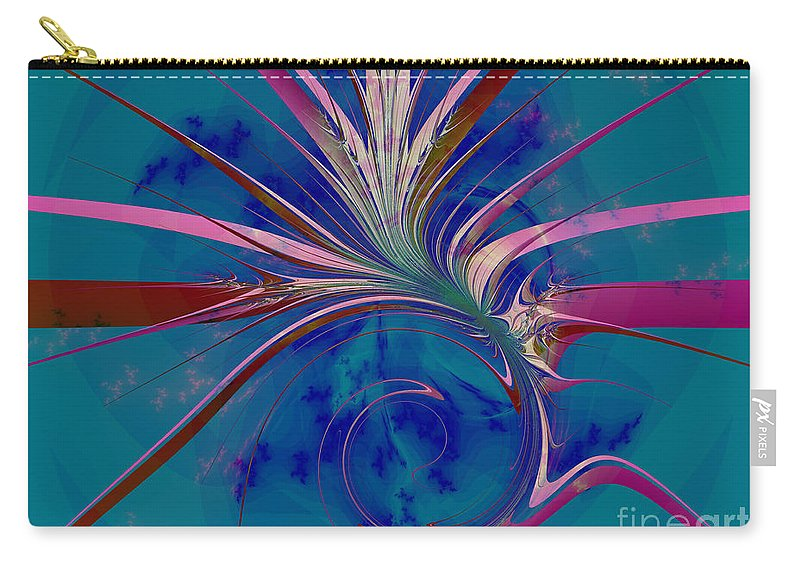 Fractal Art Carry-all Pouch featuring the digital art Pink Yucca Twist by Elizabeth McTaggart