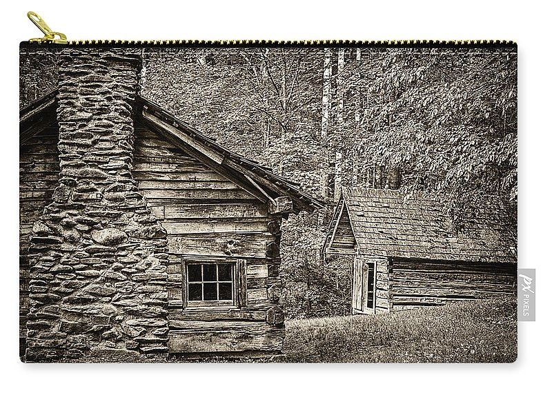 Cabin Carry-all Pouch featuring the photograph Pioneer Cabin And Shed In Cades Cove E227 by Wendell Franks