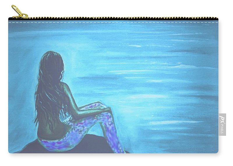 Mermaid Painting Carry-all Pouch featuring the painting Pirates Farewell by Leslie Allen