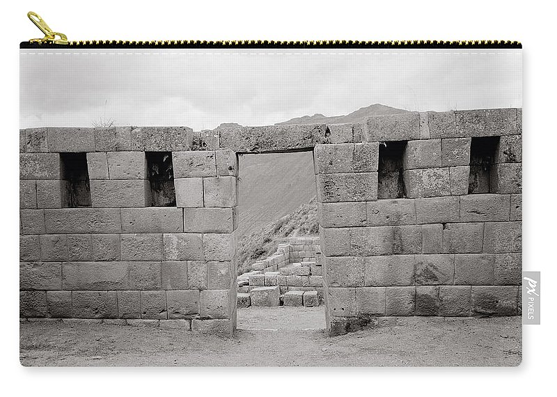 Architecture Carry-all Pouch featuring the photograph Pisac Architecture by Shaun Higson