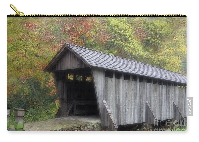 Autumn Carry-all Pouch featuring the photograph Pisgah Covered Bridge by Karol Livote