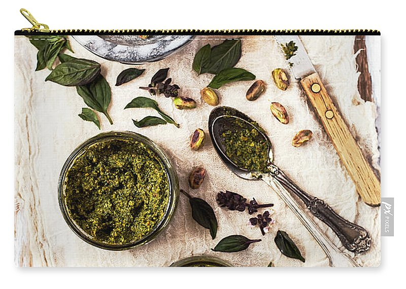 San Francisco Carry-all Pouch featuring the photograph Pistachio Pesto With Mortar, Jars And by One Girl In The Kitchen