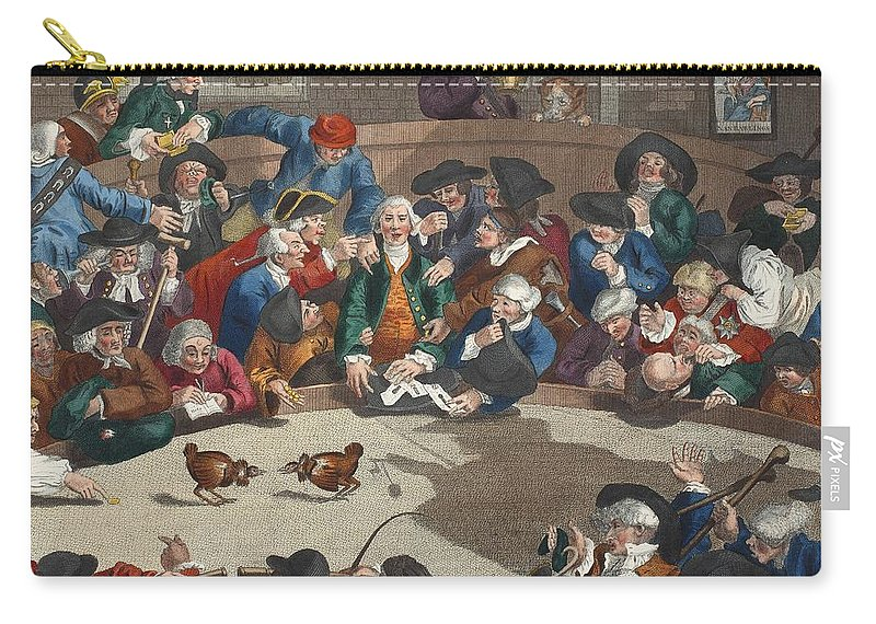 Cock-fighting Carry-all Pouch featuring the drawing Pit Ticket, 5th November 1759 by William Hogarth
