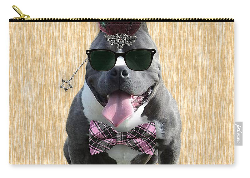 Pitbull Carry-all Pouch featuring the mixed media Pitbull Bowtie Collection by Marvin Blaine