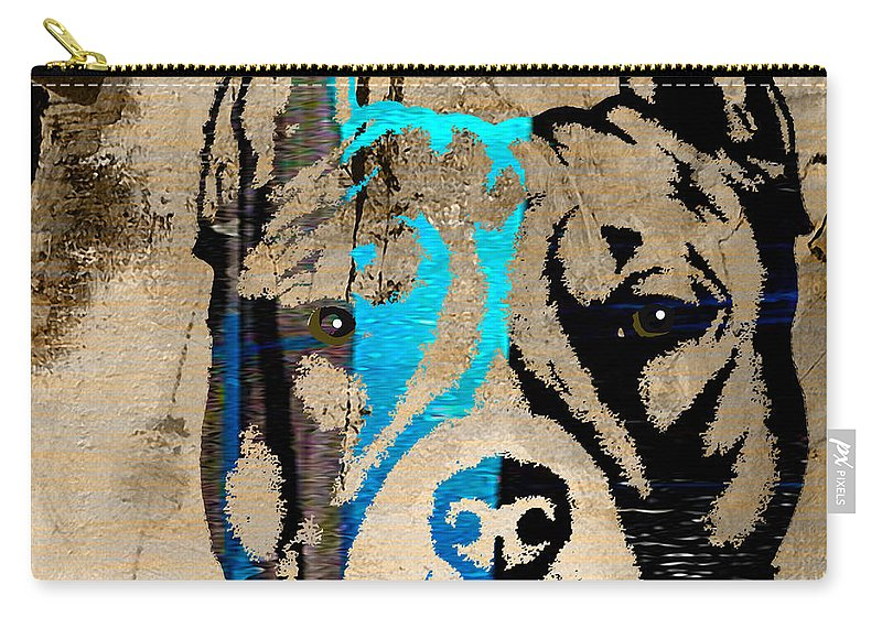 Pitbull Carry-all Pouch featuring the mixed media Pitbull by Marvin Blaine