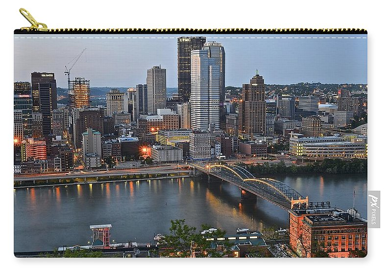 Pittsburgh Carry-all Pouch featuring the photograph Pittsburgh Before Sunset by Frozen in Time Fine Art Photography