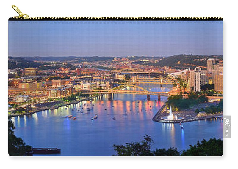Pittsburgh Skyline Carry-all Pouch featuring the photograph Pittsburgh Pennsylvania Skyline At Dusk Sunset Extra Wide Panorama by Jon Holiday