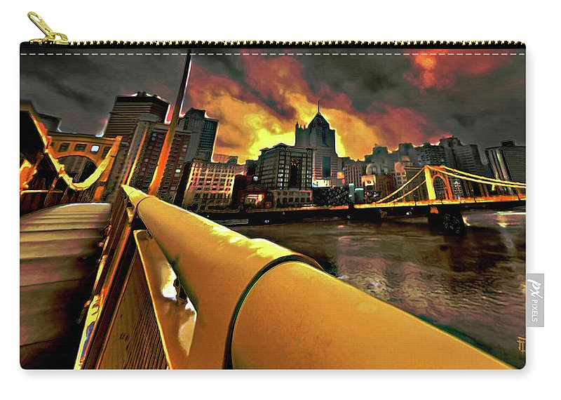 Pittsburgh Skyline Carry-all Pouch featuring the painting Pittsburgh Skyline by Fli Art