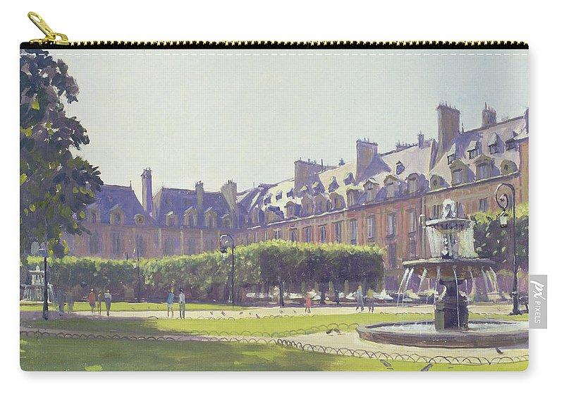 Park Carry-all Pouch featuring the photograph Place Des Vosges, Paris Oil On Canvas by Julian Barrow