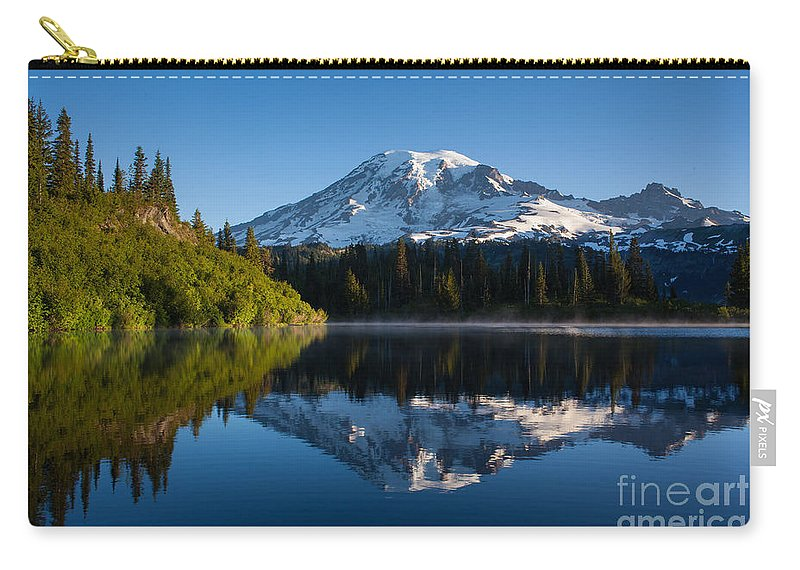 Mount Rainier Carry-all Pouch featuring the photograph Placid Reflection by Mike Reid