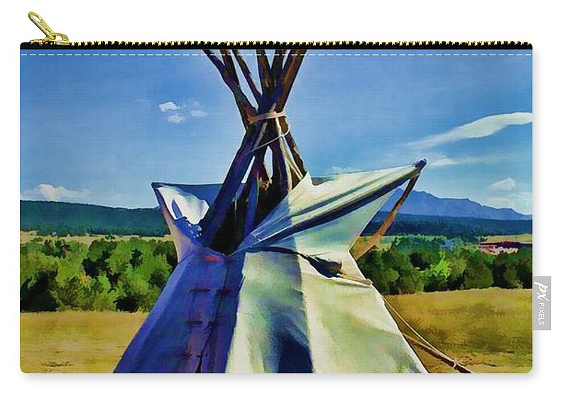 Native American Carry-all Pouch featuring the digital art Plains Tribes Teepee by Tommy Anderson