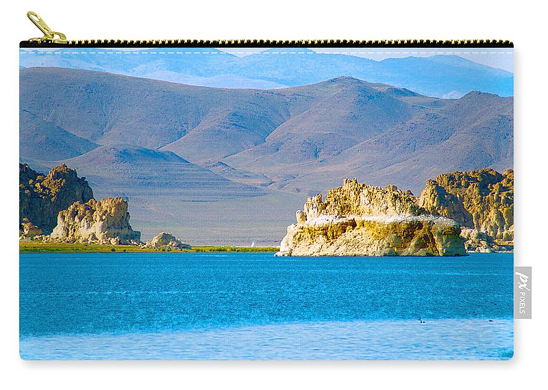 Pyramid Lake Photographs Photographs Photographs Carry-all Pouch featuring the photograph Planet Pyramid by Mayhem Mediums