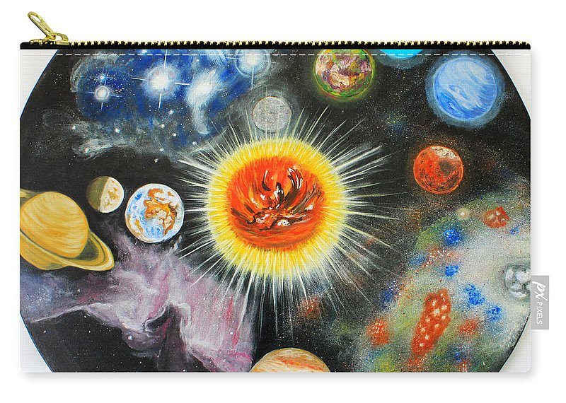 Augusta Stylianou Carry-all Pouch featuring the painting Planets And Nebulae In A Day by Augusta Stylianou