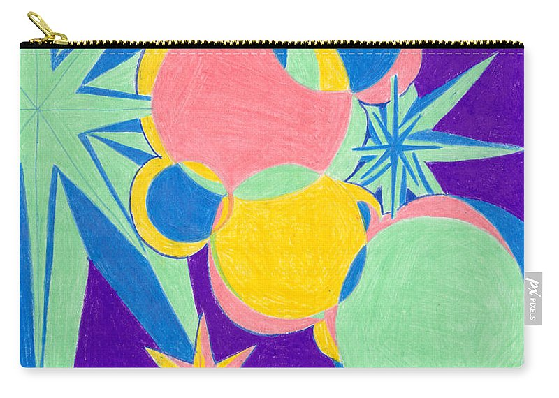 Color Carry-all Pouch featuring the drawing Planets And Stars by Kim Sy Ok