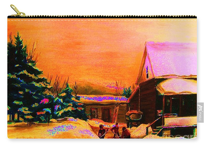 Hocket Art Carry-all Pouch featuring the painting Playing Until The Sun Sets by Carole Spandau