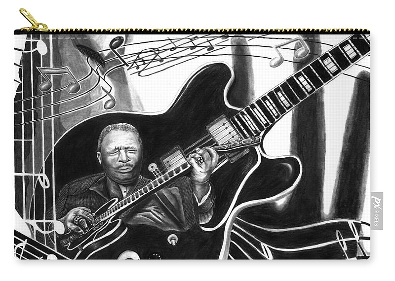 Playing With Lucille - Bb King Carry-all Pouch featuring the drawing Playing With Lucille - Bb King by Peter Piatt