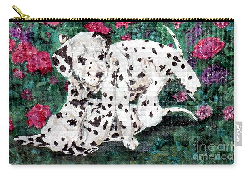 Dalmatians Carry-all Pouch featuring the painting Play'n In The Posies by Jacki McGovern