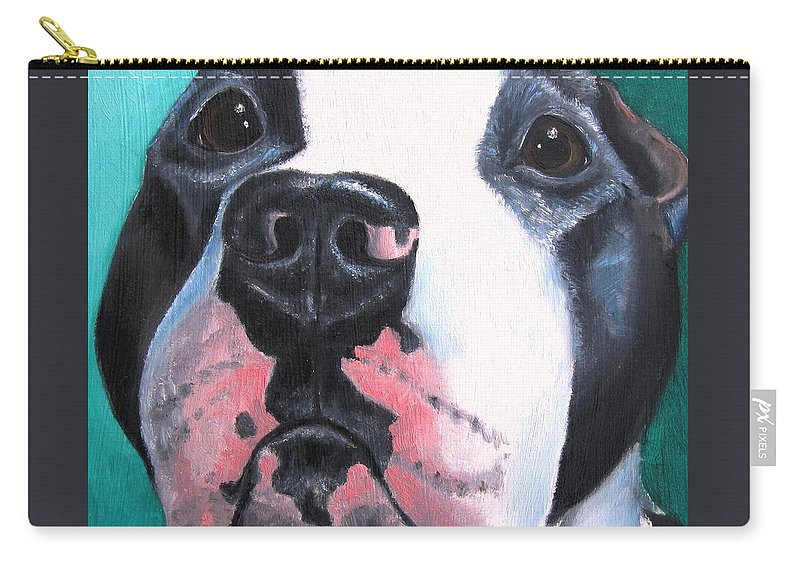 Pitbull Carry-all Pouch featuring the painting Pleeeaaasssseee? by Debbie Finley