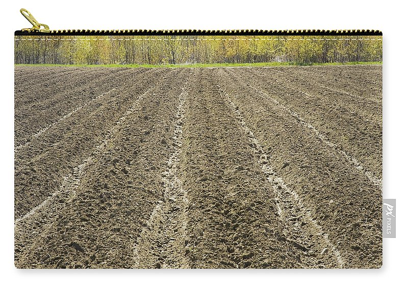 Field Carry-all Pouch featuring the photograph Plowed Spring Farmland Ready For Planting In Maine by Keith Webber Jr
