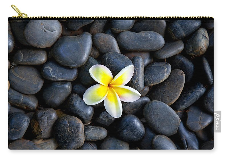 Plumeria Carry-all Pouch featuring the photograph Plumeria Pebbles by Sean Davey