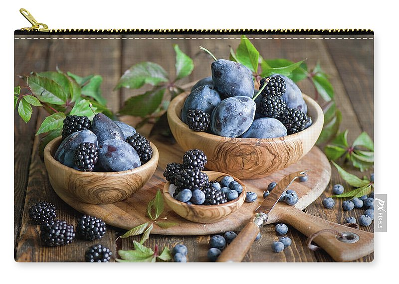 Plum Carry-all Pouch featuring the photograph Plums And Berries by Verdina Anna
