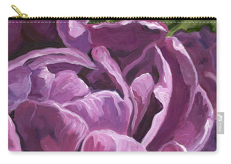 Tulip Carry-all Pouch featuring the painting Plush Purple by Lisa Foster